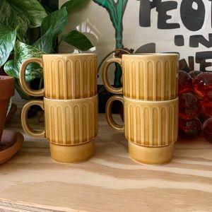 Vintage 70s Brown Japanese Stacking Coffee Mugs